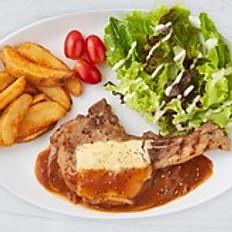 U.S. Pork Chop Steak with Cheese and Gravy Sauce