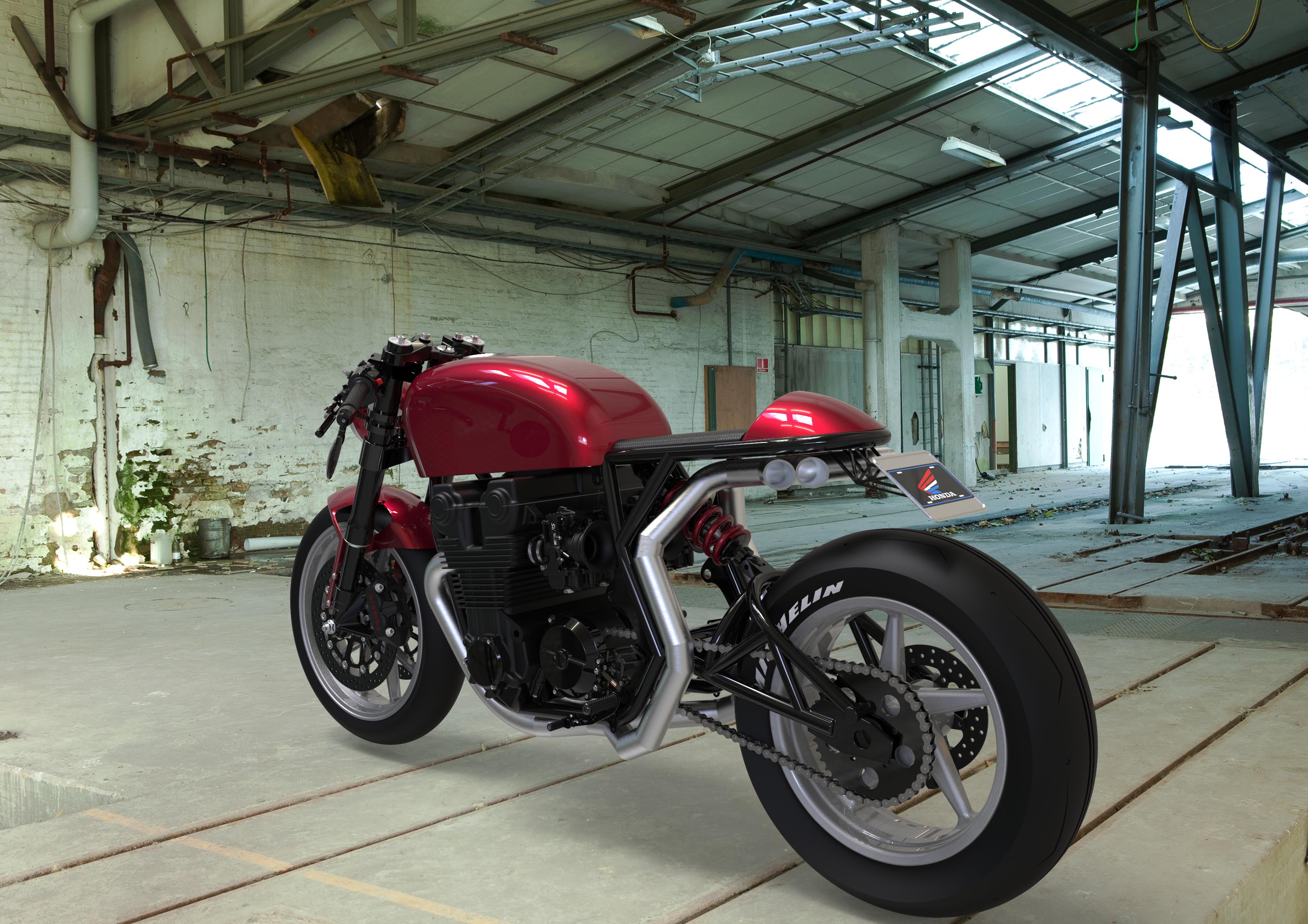 Honda CB750 Cafe Racer, rear TQ view