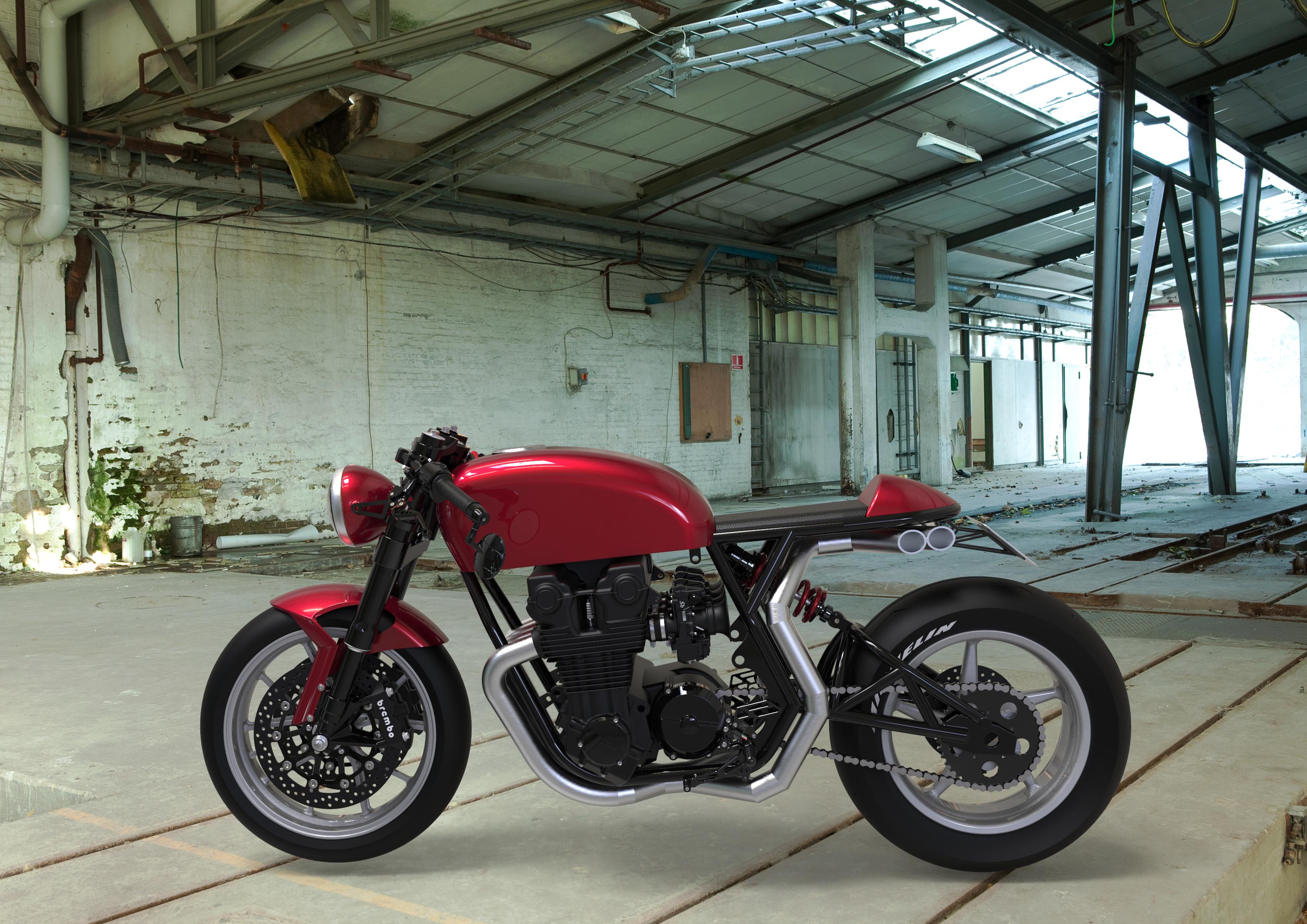 Honda CB750 Cafe Racer, Side View