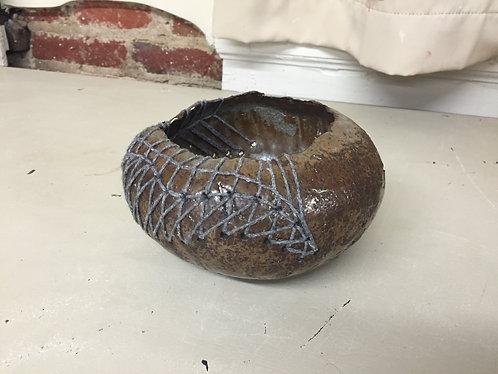 Pinch Pot w/ Yarn Stitching