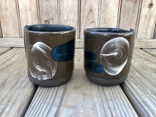 Teal & White Brushstroke Cup Pair (2 pc)