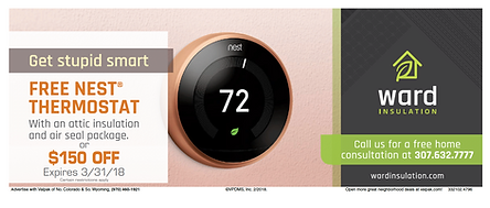 Ward Insulation Lifting Free NEST Thermostat or $160 off with Attic insulation or Air Seal package