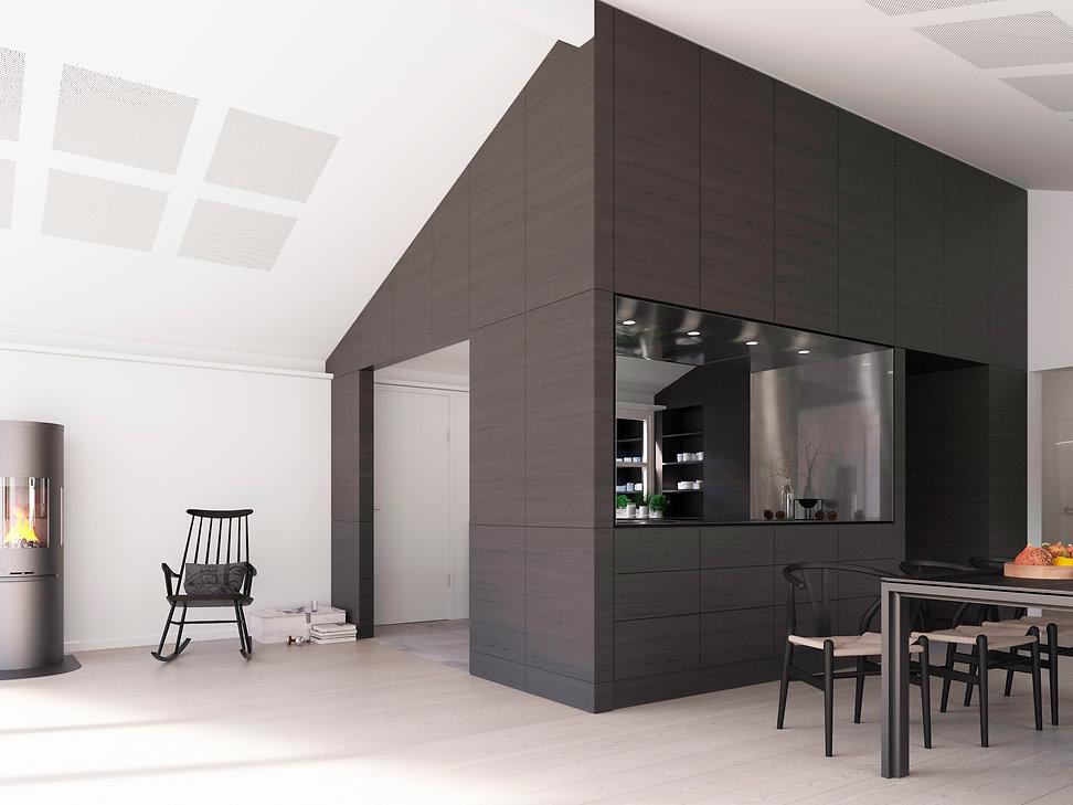 Villa ombygning bolig interiør køkken