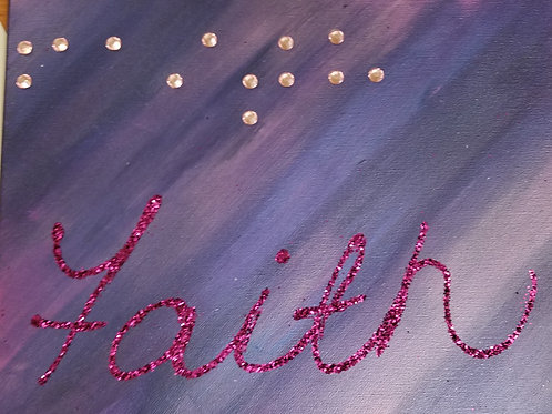 11x14 Faith in braille purples