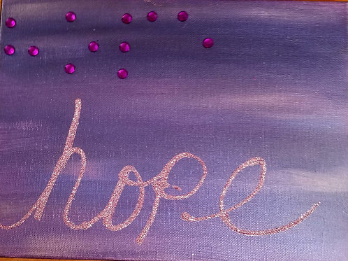 9x12 Hope in Braille pinks and purples