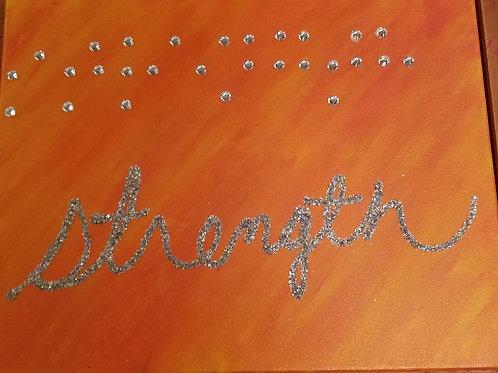 11x14 Strength in Braille oranges
