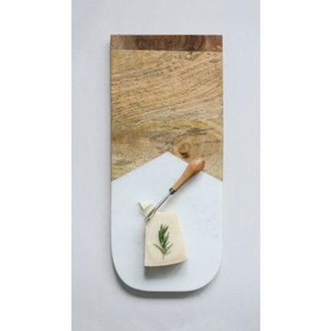 """17-1/2""""L x 7-1/2""""W Marble & Mango Wood Cutting Board w/ Canape Knife"""