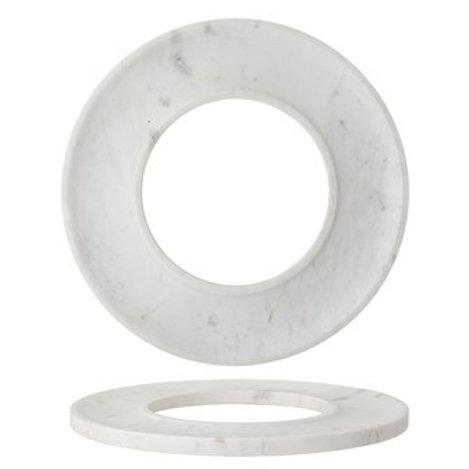 "13"" Round Marble Circle Cracker/Cheese Tray, White"