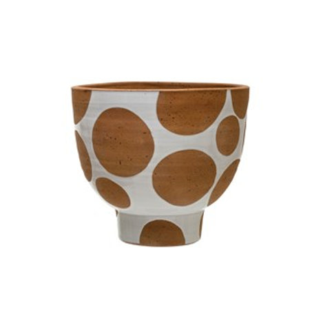 "10.75"" Round x 9""H Terra-cotta Pot, White with Natural Terra-cotta Dots"