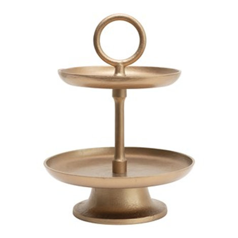 "10"" Round x 13""H Metal 2-Tier Tray, Antique Gold Finish"