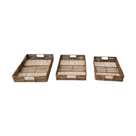 Hand-Woven Decorative Bamboo & Jute Trays with Handles, Set of 3