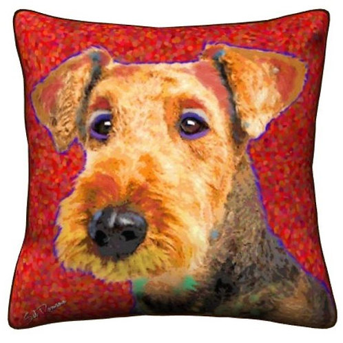 Colorful Airedale Pillow