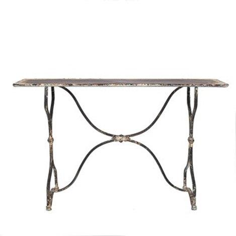 "55-1/4""L x 17""W x 33""H Metal Table, Distressed White & Black Finish"