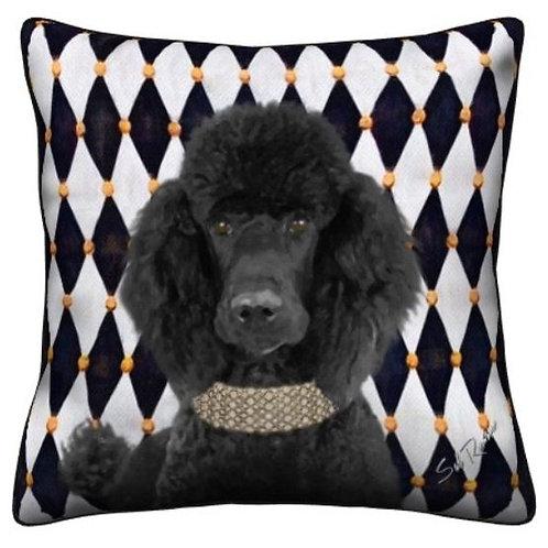 Black Poodle Dog Pillow