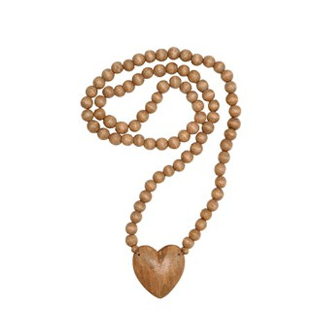 """36""""L Wood Hand-Carved Bead Strand w/ Heart"""