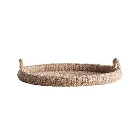 "29"" Round Decorative Braided Bangkuan Tray w/ Handles"