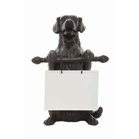 "11-1/2""L x 16-1/2""H Resin Dog w/ Ceramic Message Board"