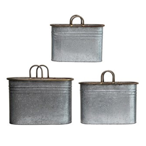 Galvanized Metal Containers with Handles, Set of 3