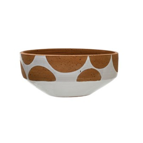 "12.5"" Round x 5.5""H Terra-cotta Pot, White with Natural Terra-cotta Dots"