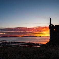 Sunset at Greenan Castle