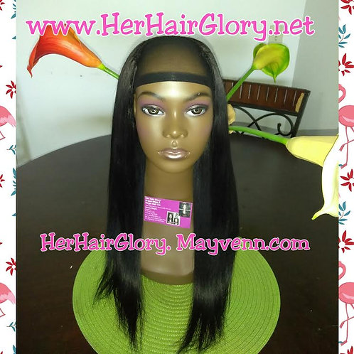 "Ready-to-Ship Pre-Made 16"" Brazilian Straight Ready-to-Ship U-part Wig"