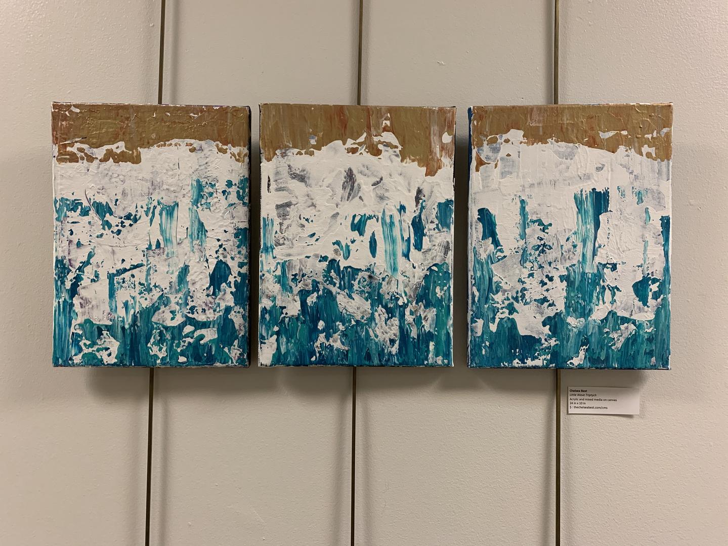"Little Waves Triptych 8""x10""/24""x10"" [NA]"