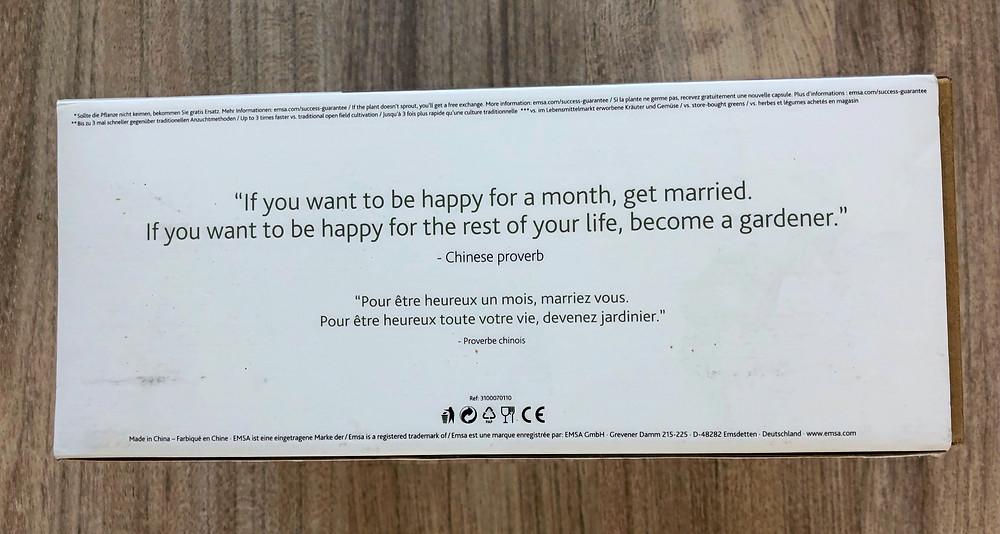 Check de spreuk op de doos, al een geluk dat ik niet getrouwd ben. ;)