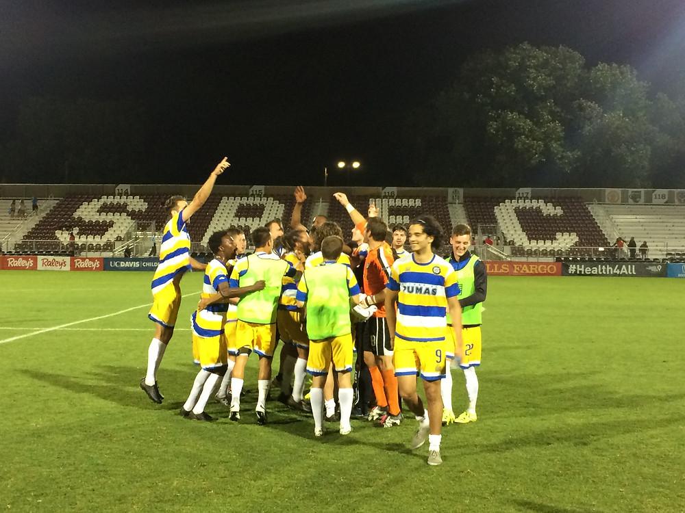 Kitsap Pumas celebrates its third round upset of Sacramento Republic FC Wednesday night.