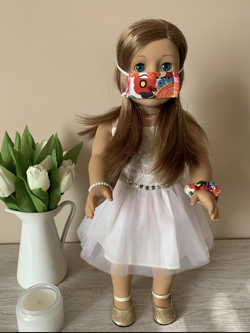 "18"" Doll Mask and Scrunchie Set - Garden Party"