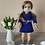 "Thumbnail: 18"" Doll Mask and Scrunchie Set - Gray w/ White Stars"