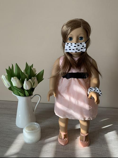 "18"" Doll Mask and Scrunchie Set - White w/ Black Dots"