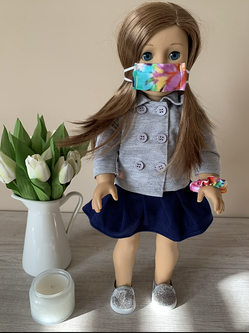 """18"""" Doll Mask and Scrunchie Set - Tie Dye"""