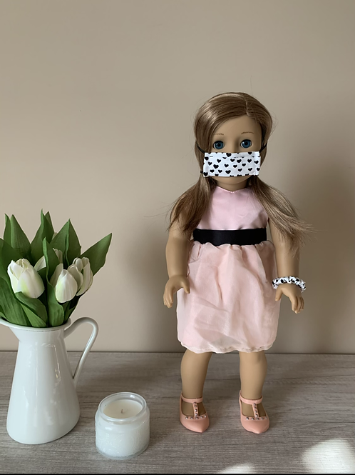 "18"" Doll Mask and Scrunchie Set - White w/ Black Hearts"