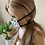 "Thumbnail: 18"" Doll Mask and Scrunchie Set - White w/ Black Hearts"