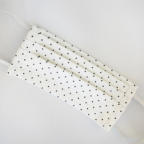 White w/Small Black Polka Dots