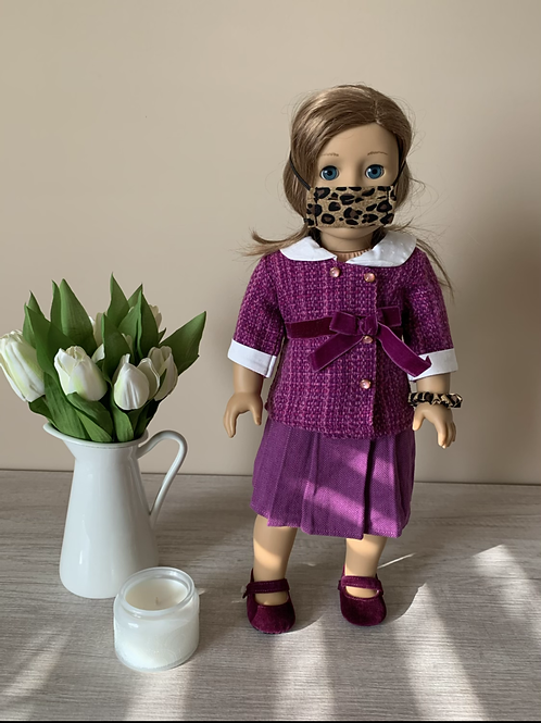 """18"""" Doll Mask and Scrunchie Set - Small Leopard"""