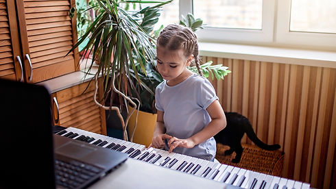 Pretty young musician playing classic di