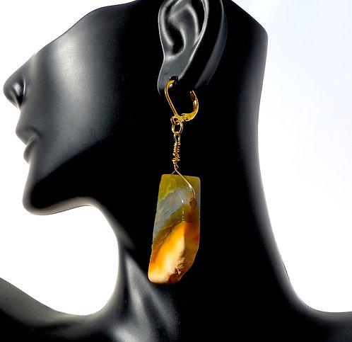 Peach Agate Slab Earrings