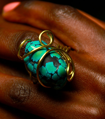 Turquoise wire wrapped in tarnish resistant Brass