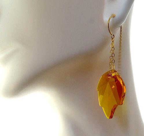 Amber Leaf Crystal Threader Earrings