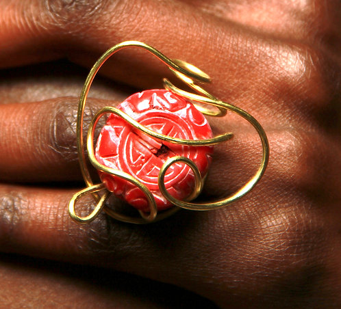 Chinese Carved Natural Red Coral Ring