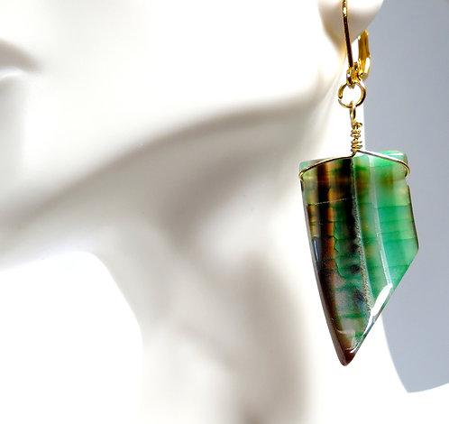Green Agate Spear Earrings