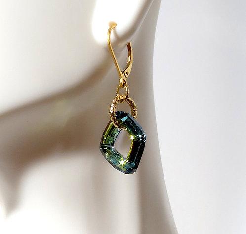 Green Blue Diamond Cut Earrings