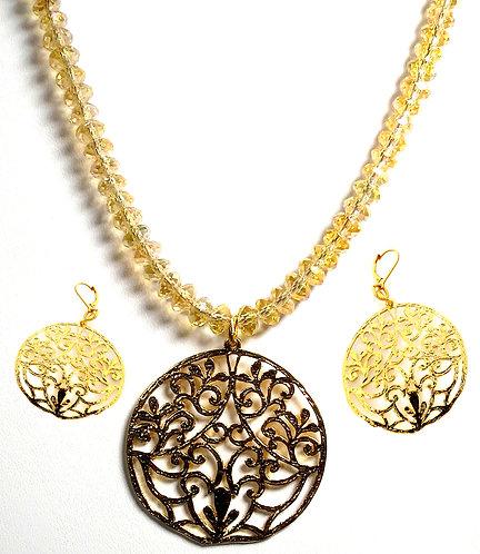 24k Gold Filled Filagree Necklace Set