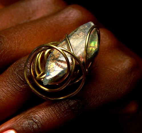 Labradorite wrapped in tarnish resistant Brass
