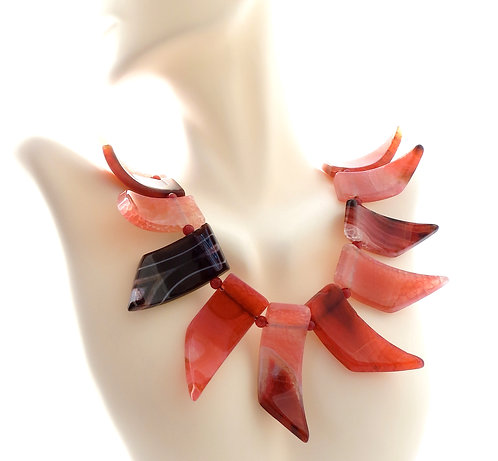 Pink Zebra Agate Spear 3 Dimensional Necklace