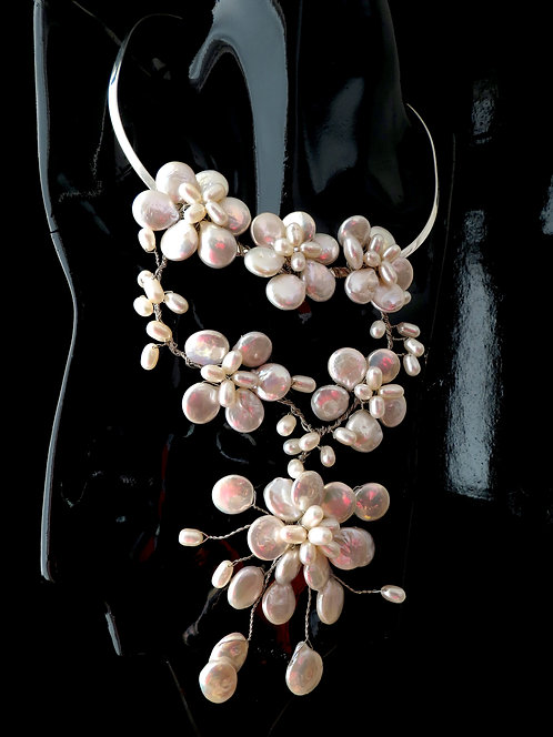 Bouquet of Pearls hand weaved in Sterling Silver