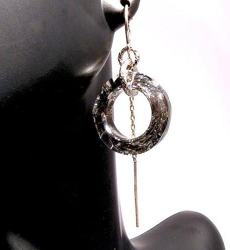 Silver Circular Crystal Earrings