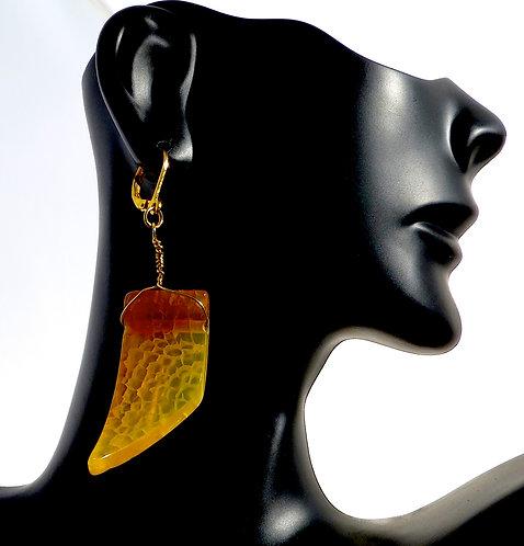 Amber Agate Slope Earrings