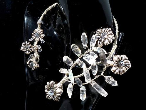 Quartz Crystal accented w/ Antique Chrome Flowers